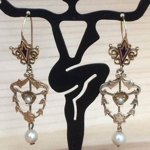 Jewelry - Vintage 14K Yellow Gold PEARL Filagree Earrings